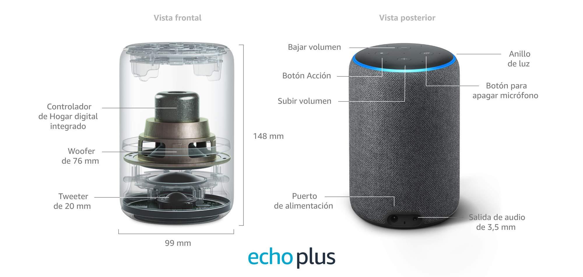 El Echo Plus tiene siete micrófonos, tecnología de formación de haces y cancelación de ruido, lo que le permite oírte sea cual sea la dirección desde la que le hablas, incluso si suena música.