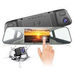 """Cámara de Coche,JEEMAK 1080P Pantalla Táctil Dash Cam LCD de 4.3"""" con 170° Gran Ángulo Espejo Retrovisor Cam con cámara delantera y trasera , G-Sensor, Grabación en Bucle y Detección de Movimiento"""