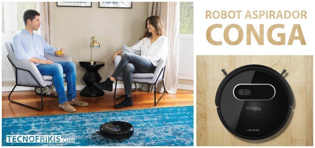 Cecotec Conga Serie 1190 - Robot Aspirador y Fregasuelos 4 en 1, Mapeo y Navegación Inteligente, 6 Modos de Limpieza con MagneticStrip, 3 Niveles de Fregado, Programable