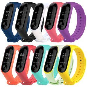 Vococal 10 Piezas Correa para Mi Band 3 Pulsera Silicona Banda para Mi Band 3 Reloj Reemplazo - 10 Colores