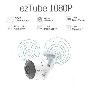 EZVIZ ezTube 1080P Cámara de Seguridad, Defensa Activa, Luz Estroboscópica Y Sirena, Dos Antenas Wifi Externas, Audio De 2 Vías, Servicio De Nube Disponible, Compatible Con Alexa, Google home y IFTTT