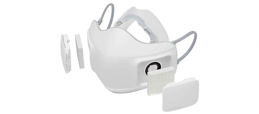 LG PuriCare - Mascarilla higiénica purificadora de aire con filtros HEPA 13, diseño ergonómico, 2 ventiladores, 126 g de peso y batería de 8 horas
