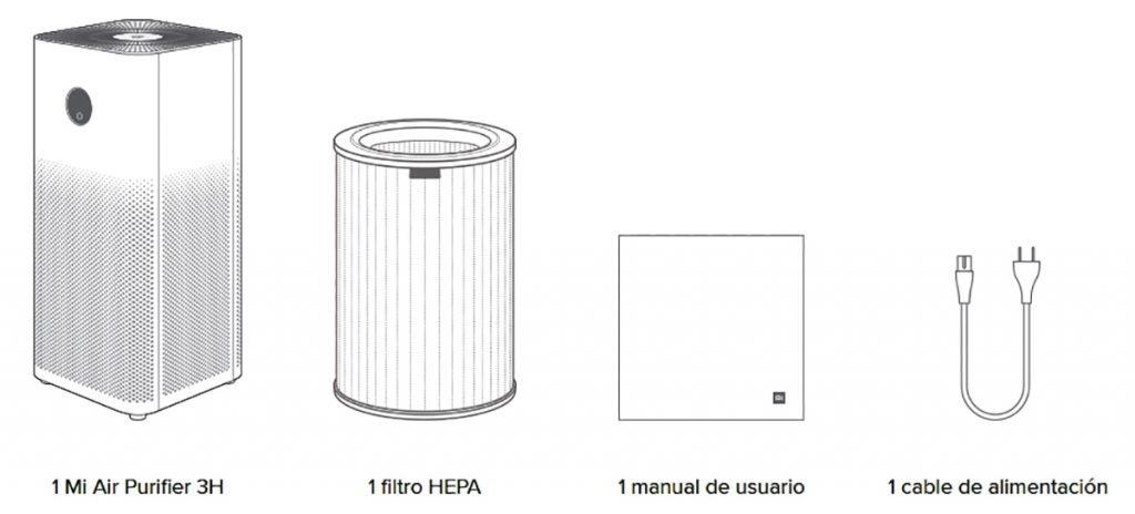 Mi Air Purifier 3H - Contenido de la caja