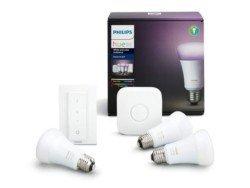 Philips Hue White and Color Ambiance - Kit de 3 bombillas LED E27 con puente y mando, 9.5 W, iluminación inteligente, cambian de color, compatible con Amazon Alexa, Apple HomeKit y Google Assistant [Clase de eficiencia energética A+]