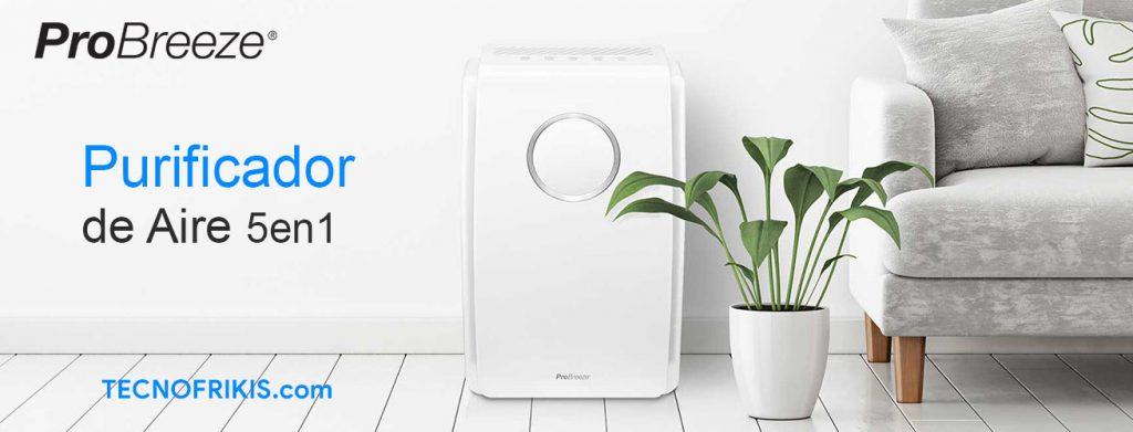 Pro Breeze Purificador de Aire 5 en 1 con pre-Filtro, Filtro HEPA, Filtro de carbón Activado, catalizador frío y generador de Iones Negativos. contra Las alergias y los olores (CADR 218, 45 m²)